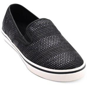 Ralph Lauren Janis Black Straw Slip-On Sneakers